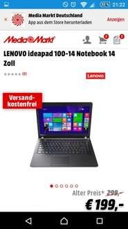"LENOVO ideapad 100-14 für 199€ inklusive Windows 10 - 14"" Notebook @MediaMarkt"