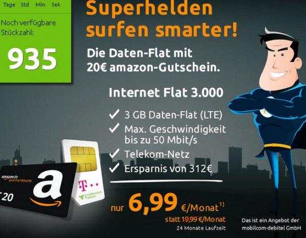 3GB LTE D1 über MD + 20€ Amazon Gutschein bei Crash-Tarife