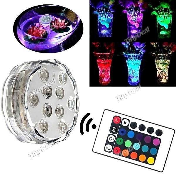 10-LED (RGB) Unterwasser Lampen inkl. Fernbedienung (Party, Vase, Aquarium, Dekoleuchte) bei tinydeal