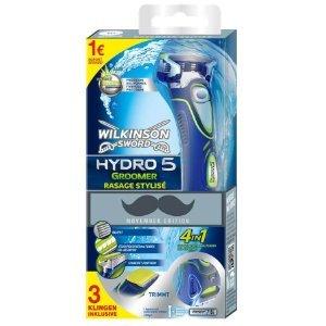 Wilkinson Sword Hydro 5 Groomer Rasierer mit 3 Klingen und Trimmer inkl. Batterie, Movember Edition (plus 1,- € Spende von Wilkinson)