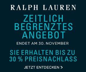 Black Friday Angebote bei Ralph Lauren: 20% Rabatt auf das gesamte Sortiment, 30% Rabatt ab 350€ Bestellwert