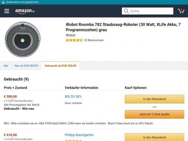 Irobot Roomba 782 bei Amazon für 300€