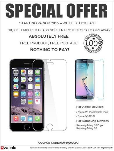[zapals] 10.000 Gratis Hartglas Schutzfolien für iPhone 5/5S/5C/6/6+/6s+ oder Samsung S6/ S6 Edge für Neukunden