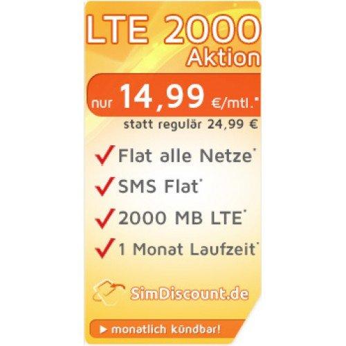 Allnet Flat + SMS Flat + 2GB LTE Internet 14,99€ Handyvertrag monatlich kündbar