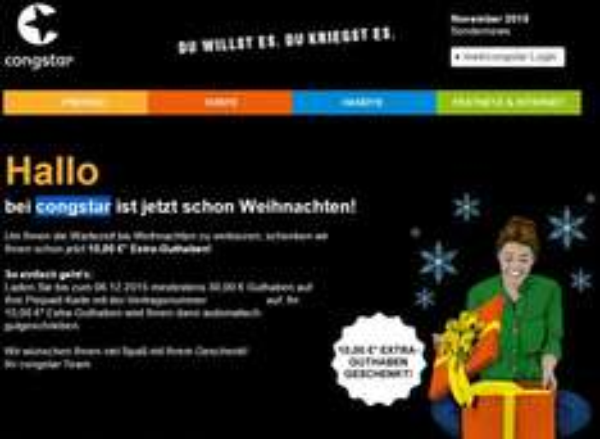 """congstar Prepaid für 30 Euro aufladen und 10 Euro """"oben drauf Geschenkt"""" bis 06.12"""