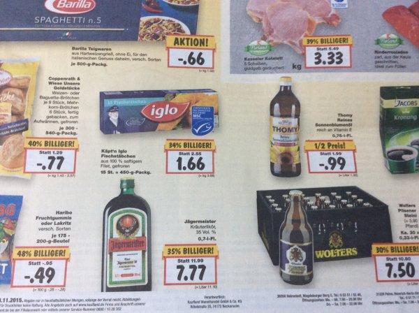 @Kaufland BS & PE - Jägermeister 7,77 €, Barilla 0,66 €, Wolters 7,50 €