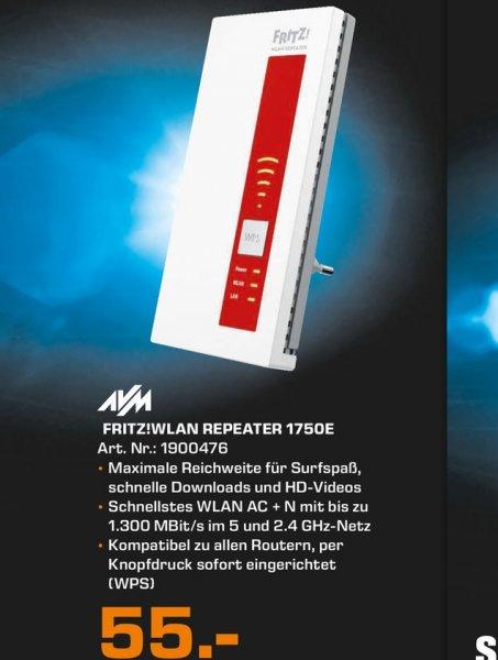 [Saturn Stuttgart/ Leonberg/ Esslingen] Fritz! Wlan Repeater 1750E (1300 MBit/s, 2,4GHz + 5GHz Dual-Band, Wlan a/b/g/n/ac, Gb LAN, WPS) für 55,- €