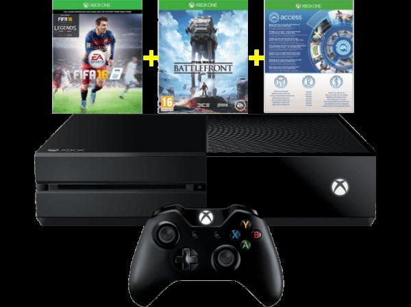 [Mediamarkt.at] Xbox One 500GB inkl. FIFA 16 & Star Wars Battlefront & 1 Monat EA Access (Lieferung nach Deutschland mit D-A-Packs möglich -> 302,89€ inkl.)