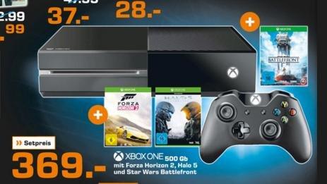 [LOKAL - Saturn Kiel] XBox One 500GB + Forza 2 + Halo 5 + Starwars Battlefront - 369€