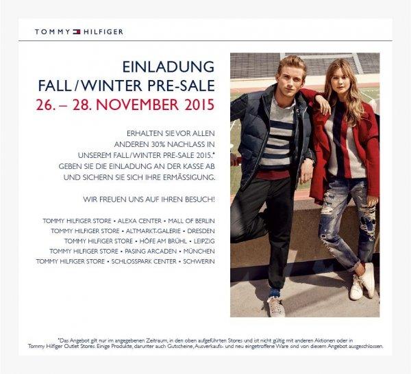 [LOKAL] Tommy Hilfiger 30% PreSale 26.-28.11. aktuelle Herbst- /Winterkollektion