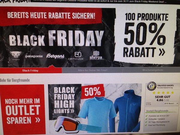 bergfreunde.de eröffnen Black Friday mit 50 % auf 100 Produkte, z.B. Haglöfs Icon Tight large Daypack für 34,98