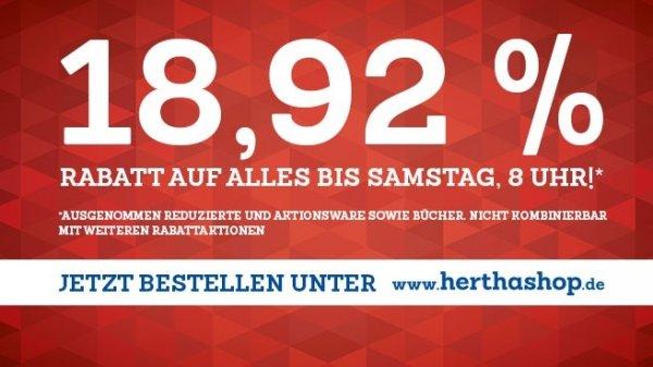 Black Friday? Blauer Freitag! 18,92% auf alles bei www.herthashop.de