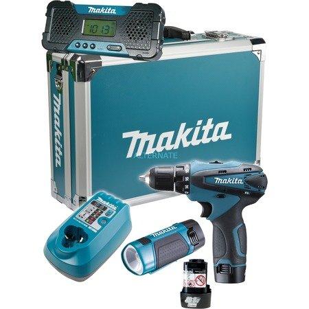 Makita Akku-Combo-Kit DK1488X Li (10,8V), bestehend aus Akkubohrschrauber DF330DWE, Akku-Lampe ML 100, Akku-Radio MR051, Ladegerät und Alu-Kunststoffkoffer für 124,85 €, @ZackZack