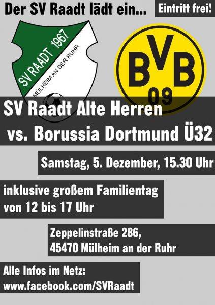 5.12.2015 - Freier Eintritt - Fußball - SV Raadt vs Borussia Dortmund Ü 32 - 15:30 Uhr
