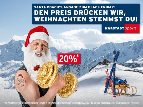 20% Rabatt auf Sportbekleidung und Sportschuhe in allen Karstadt sports Filialen