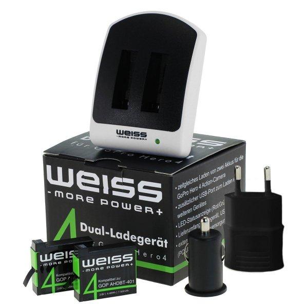 GoPro 4 Ladeset 6in1 (2 Akkus, Ladegerät, Netzteil, KFZ-Adapter) von Weiss für 19,99€ statt 27,49€ bei Amazon
