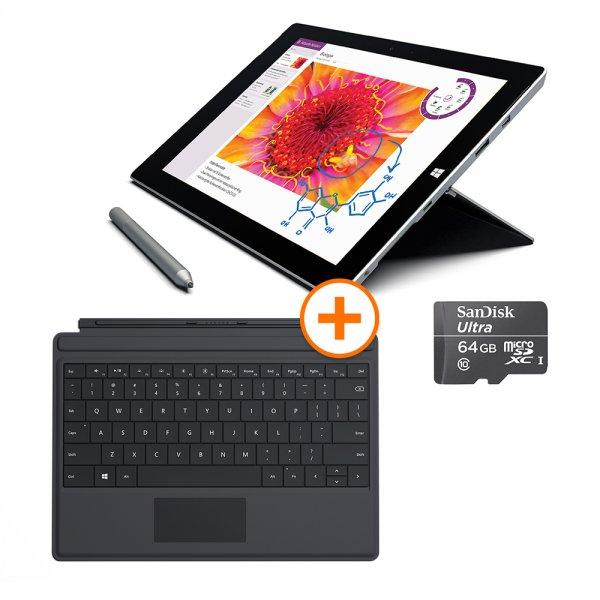 [NBB] Surface 3 mit 4GB RAM und 128GB SSD + Type Cover + microSDXC 128GB + Surface Pen für 701,10€