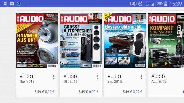"""""""Audio"""" das Audio Magazin bei Google Kiosk für 0,99€ statt 5,49€"""