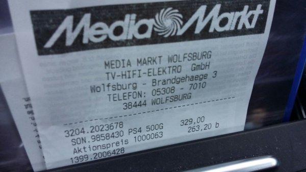 PS4 500 GB CUH-1200 schwarz Media-Markt Wolfsburg