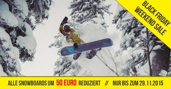 Aktuelle Snowboards um 50€ reduziert. | Burton, GNU, Lib Tech, Roxy. | Alle Boards unter idealo Bestpreis. | Ganzes Wochenende gültig @Black Friday