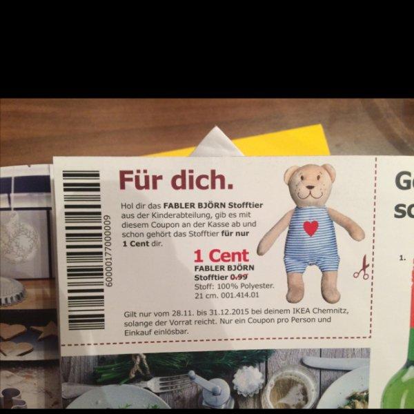 [lokal - Chemnitz] Ikea Teddy-Bär für 0,01€