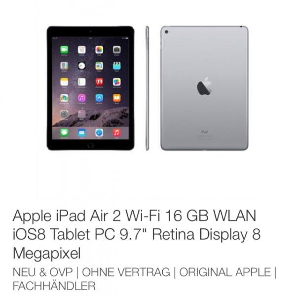 Apple iPad Air 2 in allen Farben (Gold, Silber, Space Grau) für 389,90