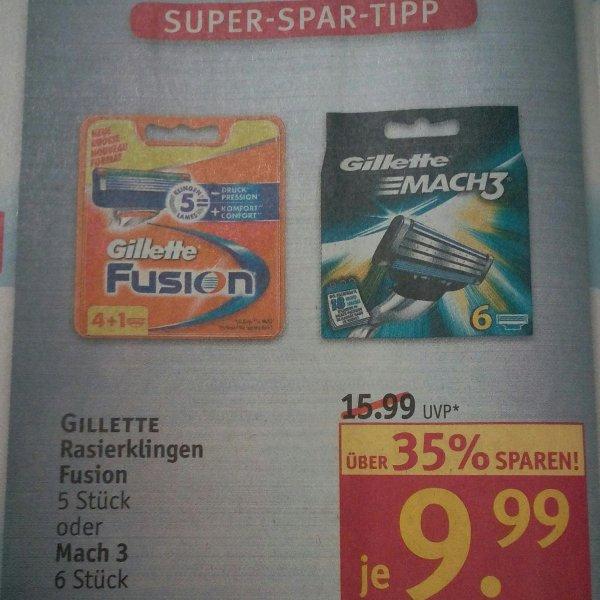 Gillette Fusion 4+1 oder 6 Mach 3 Klingen
