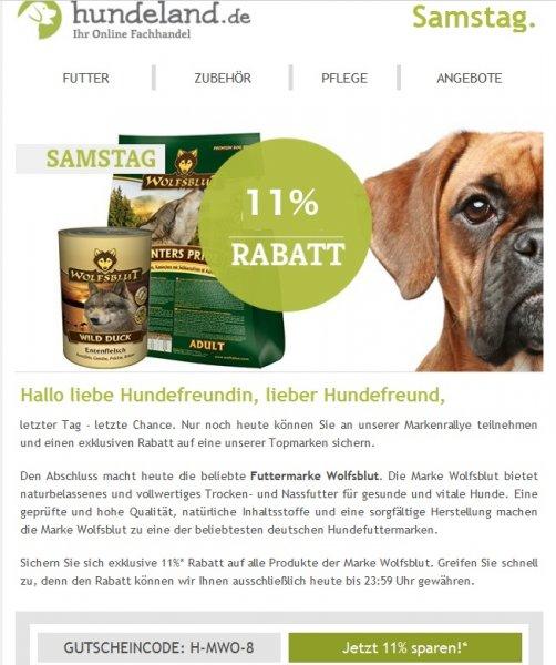 11 % auf Wolfsblut Hundefutter bei Hundeland.de aber nur heute