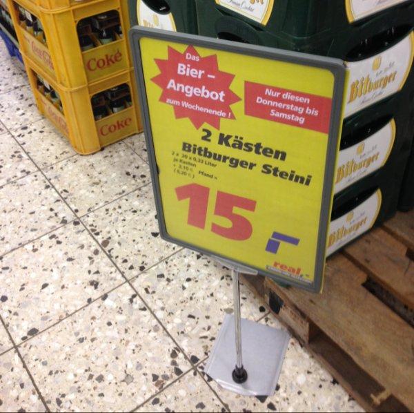 [Lokal real Eschweiler-evtl. Bundesweit]2 Kästen BitBurger Steini (0,33L) Stubbis 15€ zzgl. Pfand
