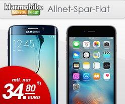 iPhone 6s 16GB od. Samsung Galaxy S6 128GB ⁄ klarmobil Allnet-Spar-Flat 1GB D-Netz  €34,80mtl. @handytick.de