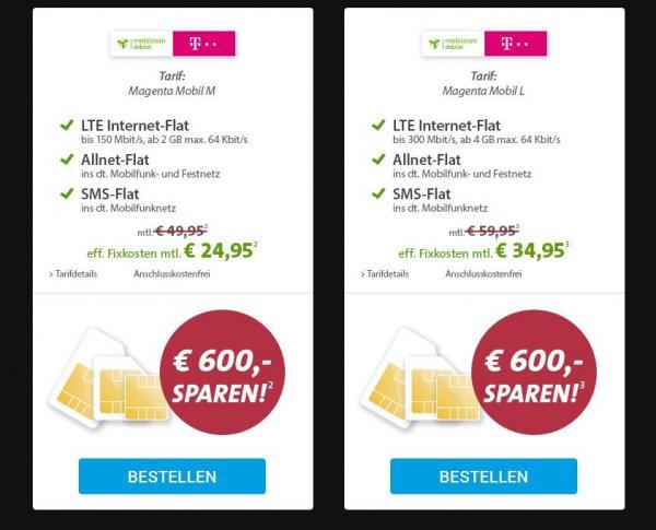 Sparhandy - MAGENTA M 24,95€ oder MAGENTA L für 34,95€