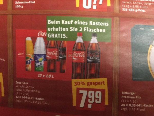 Rewe Coca-Cola 12x1 l und 2 Flaschen gratis