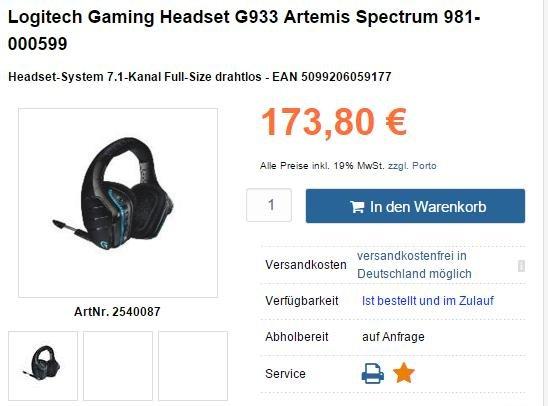 Logitech G933 Gaming Headset für 173,80€ --> Schon vorbei