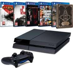 Playstation 4 500 GB + God of War + Assassins Creed Syndicate + Meta Gear Solid V: The Phantom Pain + GTA V + The Evil Within für 370 € @ Cyber Monday Amazon.FR