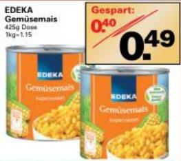 [WEZ] 425g MAIS EDEKA Gemüsemais für 0,49 stat 0,89 (entspricht 1,15 / kg)
