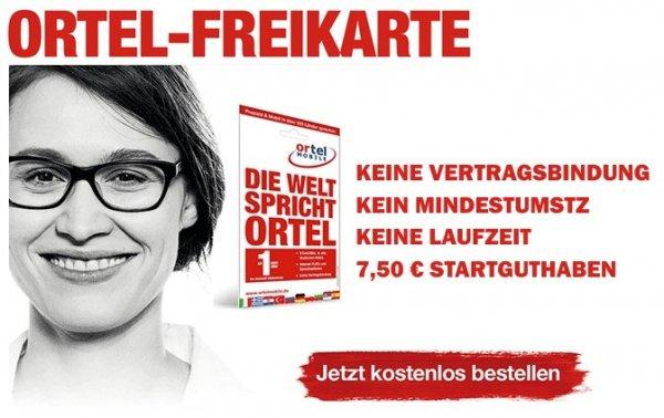 Ortel Mobile SIM-Karte mit 7,50€ Startguthaben