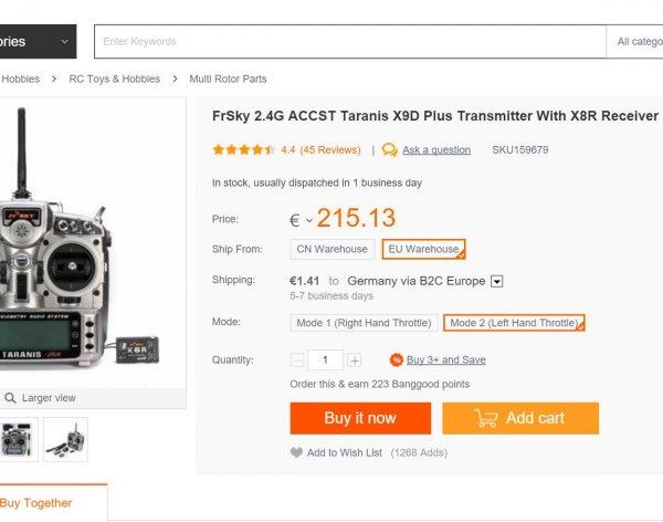 FrSky Taranis X9D Plus mit X8R [AUS EU!!!]