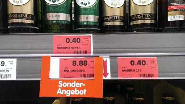 Warsteiner 0,5 l für 0,40€, Edeka 67433 Neustadt