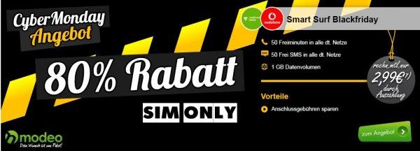 mobilcom-debitel Vodafone Smart Surf Blackfriday | 50 freiminuten | 50 SMS | 1GB mit bis zu 14,4 Mbit/s für rechnerisch 2,99€/Monat @modeo Cyber Monday