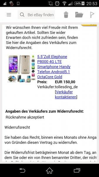 Elephone P8000 Gold (evtl auch S/W) Versand aus Deutschland