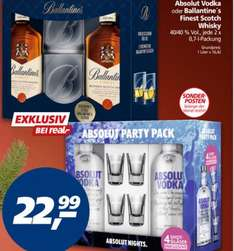 Bundesweit REAL Doppelpack + Gläser Absolut Vodka oder Ballantine´s Finest Scotch Whisky 22,99€