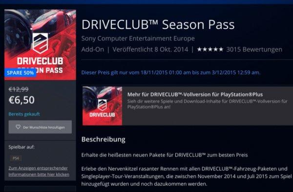 Drive Club Season Pass 50% billiger bis 3.12.15