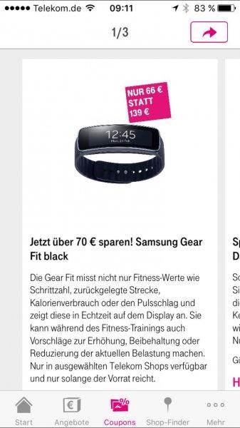 Samsung Gear Fit Black für 66€