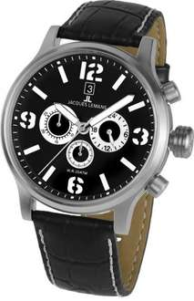Jacques Lemans Herren-Armbanduhr XL Porto Chronograph Quarz Leder 1-1794A Amazon.de