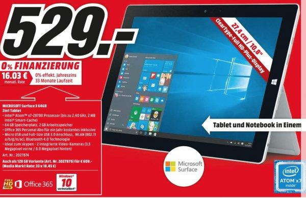 [Mediamarkt Sulzbach (MTZ)] Microsoft Surface 128GB 4GB RAM für 609€