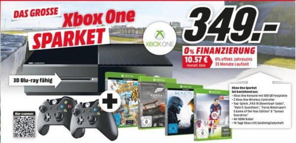 [Mediamarkt Sulzbach (MTZ)] Xbox One Sparpaket 500GB (Konsole, 2x Controller, Fifa 16 (Download), Halo 5: Guardians, Forza Motorsport , Sunset Overdrive) für 349€