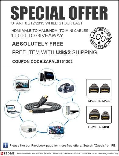 [zapals] 10.000 x 1,4M HDMI MALE TO MALE bzw. 1,5M HDMI TO MINI Kabel für 1,8€