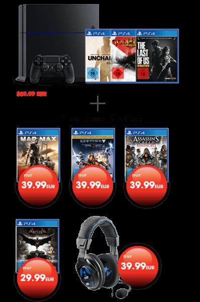GameStop PS4 1TB + 3 Spiele + 1 Spiel günstiger