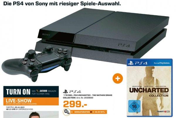 [Lokal Köln Saturn] Sony Playstation 4 - 1TB [NEUE VERSION] + Nathan Drake Collection für 299,-