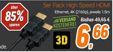 [NBB] Nur in der APP ab 11 Uhr! HDMI Kabel 1,5m lang, 4k 2160p, Ethernet 6,66€ inkl. Versand